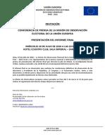 Conferencia de Prensa – Presentación Informe Final
