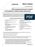 Winners of the 2016 Lieutenant Governor's Award for Excellence in Ontario Wines