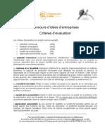 Criteres Concours Concours d'Idées d'Entreprises 2015