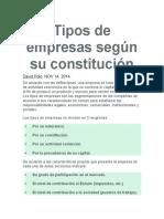 Tipos de Empresas Según Su Constitución