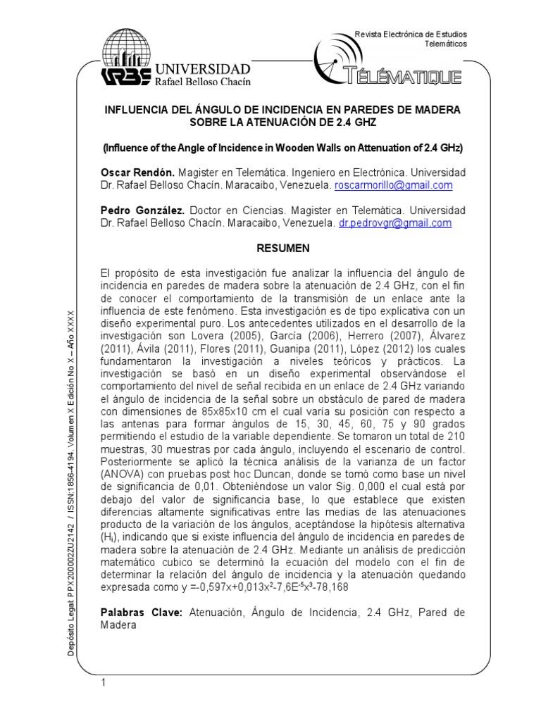 INFLUENCIA DEL ÁNGULO DE INCIDENCIA EN PAREDES DE MADERA SOBRE LA ...