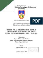 Propuesta Para La Implementacion Del Sistema de Evaluación Para Estudiantes Vía Web, UCATEBA, Barahona, 2014-2015