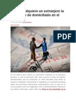 Cuándo Adquiere Un Extranjero La Condición de Domiciliado en El Perú