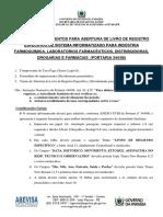 Livro de Registro Específico - Anvisa