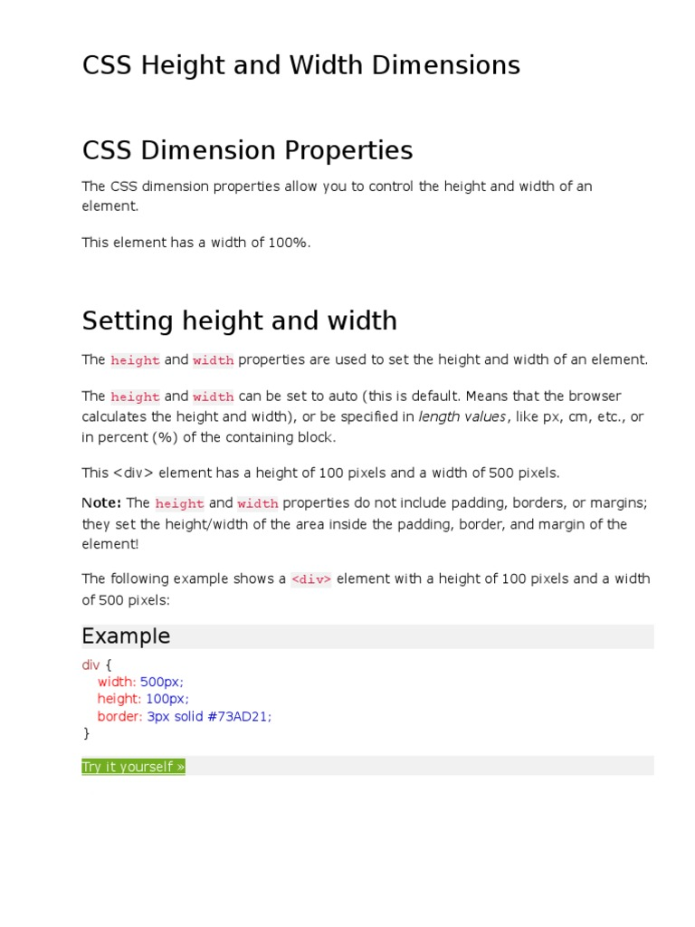 CSS Height and Width Dimensions   Cascading Style Sheets