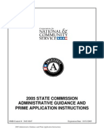 CNCS 2005 Americorps State Commission Administrative Guidance and Prime Application Instructions
