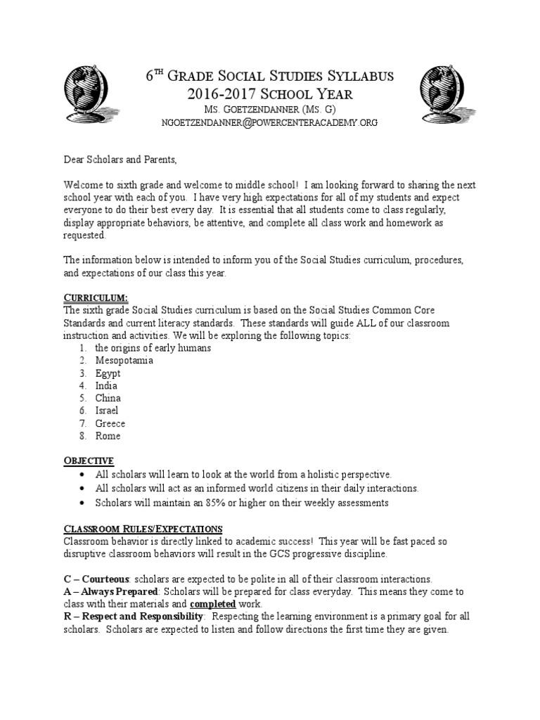 6th grade social studies syllabus | Tarea | Plan de estudios