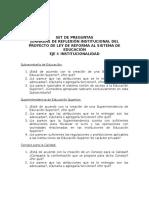 Estructura Jornada de Reflexión sobre Proyecto de Ley Educación Superior