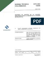 Iso 10006 2003 Sistemas de Gestic3b3n de La Calidad Directrices Para La Gestic3b3n de La Calidad en p