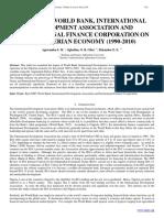 IMPACT OF WORLD BANK, INTERNATIONAL DEVELOPMENT ASSOCIATION AND INTERNATIONAL FINANCE CORPORATION ON THE NIGERIAN ECONOMY (1990-2010