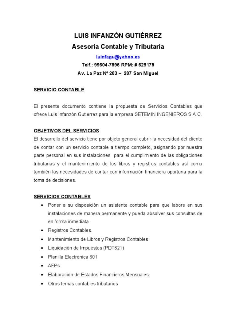 formato propuesta de trabajo servicios - Etame.mibawa.co