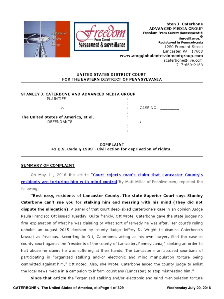 Caterbone V The United States Of America Etal Complaint July 20 Harbor Freight 439 X 839 Folding Trailer Kit Wiring Upgrade Details 2016 Ver 10 Bookmarked For Download Pro Se Legal Representation In