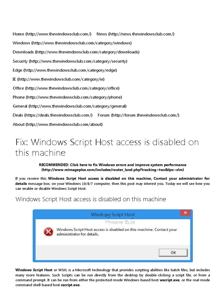 Windows script host access is disabled on this machinepdf ccuart Choice Image