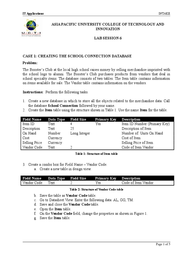 Lab 06 - MS Access | Databases | Microsoft Access