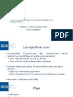 Interactions Recherche et Professionalisation en Communication