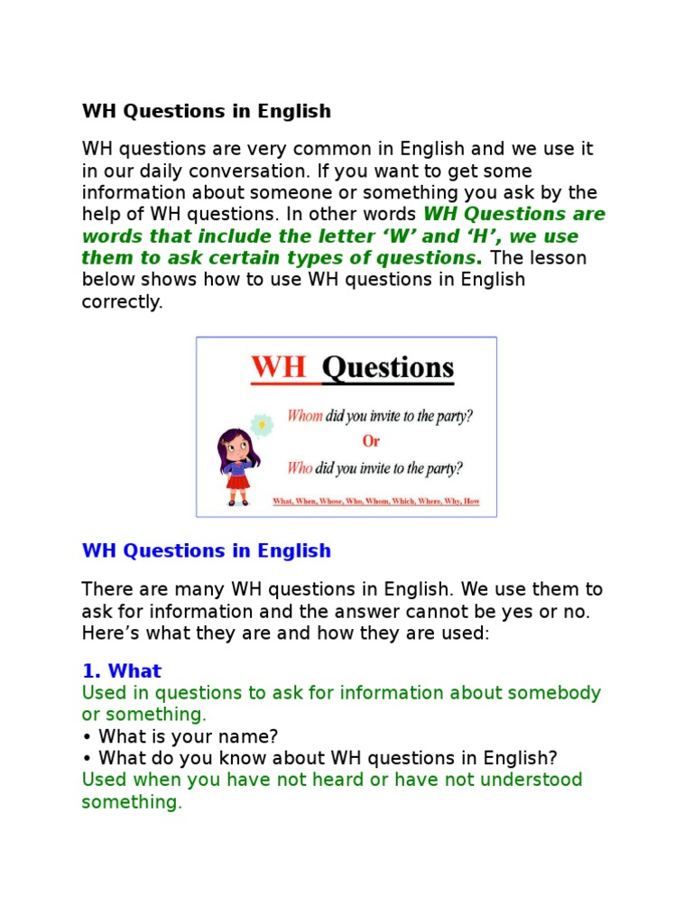 WH Questions in English | Question | Preposition And