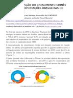 A DESACELERAÇÃO DO CRESCIMENTO CHINÊS AFETARÁ AS EXPORTAÇÕES BRASILEIRAS DE CELULOSE