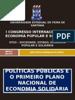 Políticas Públicas e o Primeiro Plano Nacional de Economia Solidária