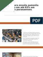 Manufatura Enxuta Aumenta Produção Em Até 63%