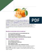 benficios y vitaminas de la naranja y mandarina