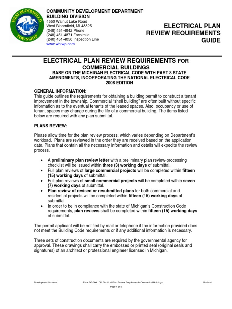 cd electrical plan review requirements commerical buildings