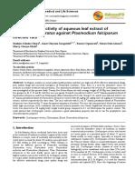 Antiplasmodial Activity of Aqueous Leaf Extract of Cymbopogon Citratus Against Plasmodium Falciparum Infected Rats
