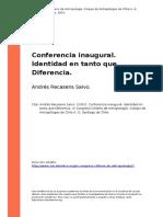 Andres Recasens Salvo. (2001). Conferencia Inaugural. Identidad en Tanto Que Diferencia