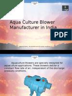 Aqua Culture Blower Manufacturer in India
