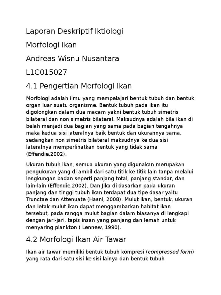 Laporan Deskriptif Iktiologi Morfologi Ikan 2