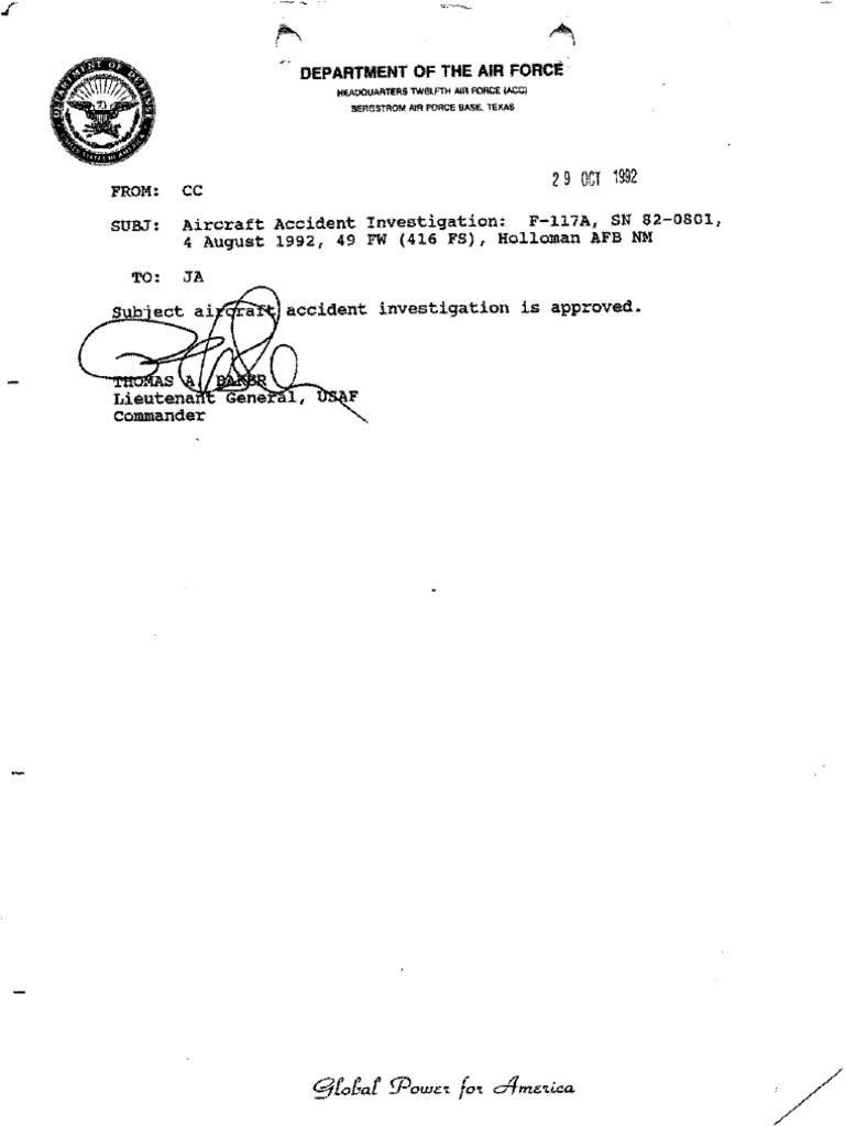 833rd aero squadron - Aircraft Accident Investigation F 117a Sn 82 0801 4 August 1992 49 Fw 416 Fs Holloman Afb Nm Aviation Aeronautics