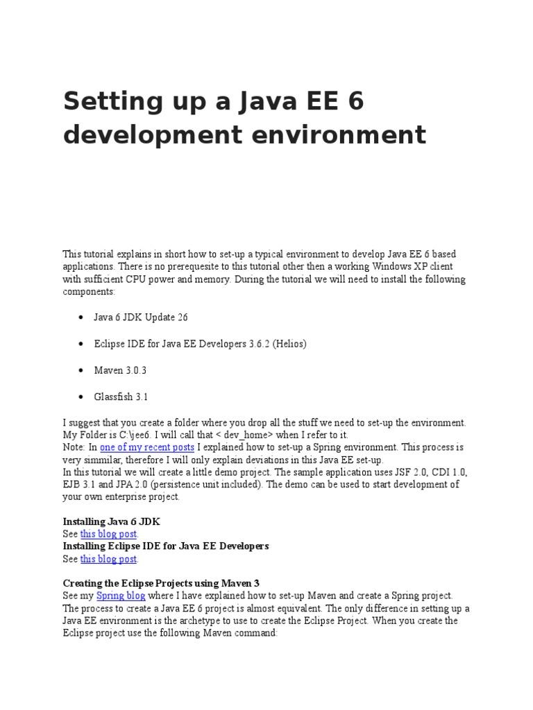 Setting Up a Java EE 6 Development Environment | Eclipse