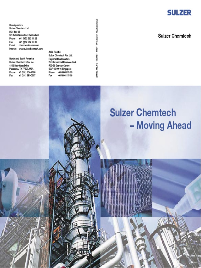 Sulzer Chemtech - Moving Ahead | Industries | Química