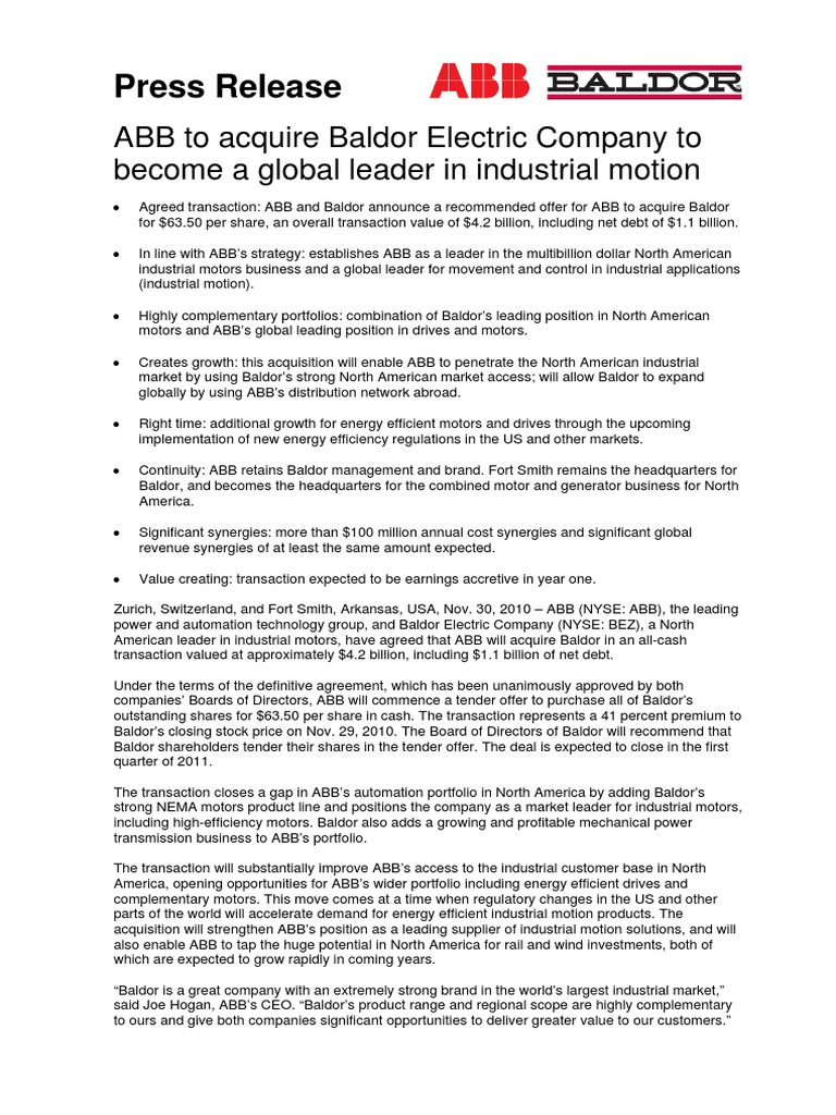Abb Baldor Motor Mergers And Acquisitions Risk Motors