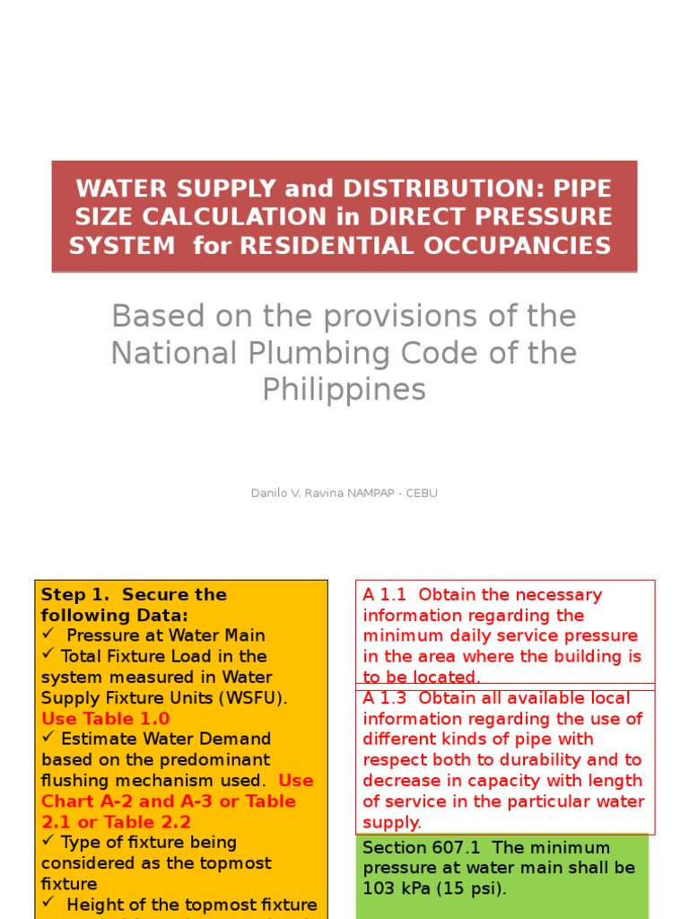 Pipe Size Calculation-residential | Tap (Valve) | Pressure