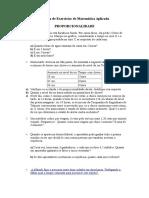 1ª Lista de Exercícios de Matemática Aplicada - Proporcionalidade