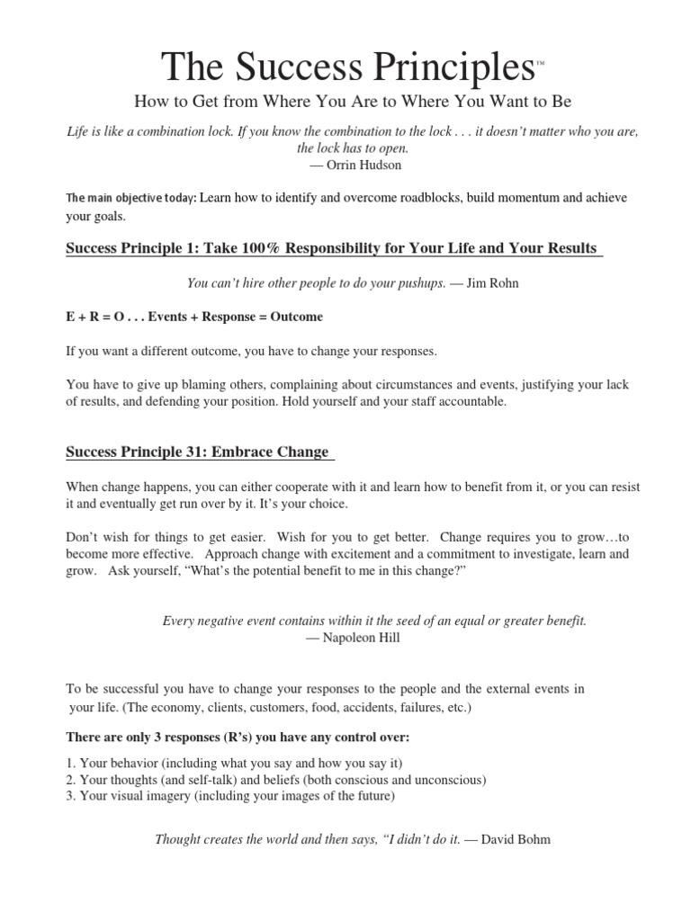 Workbooks success principles workbook : Jack Canfield Live Workbook | Attitude (Psychology) | Law Of ...