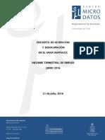 Desempleo Gran Santiago Junio 2016
