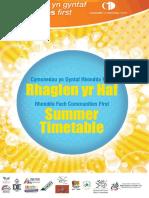 Rhondda Fach Summer Timetable