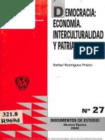 DEMOCRACIA ECONOMÍA INTERCULTURALIDAD Y PATRIARCALISMO, Rafael Rodriguez Prieto, n°27