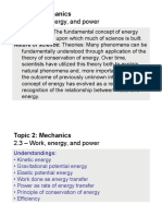 Topic 2.3 - Work, Energy and Power