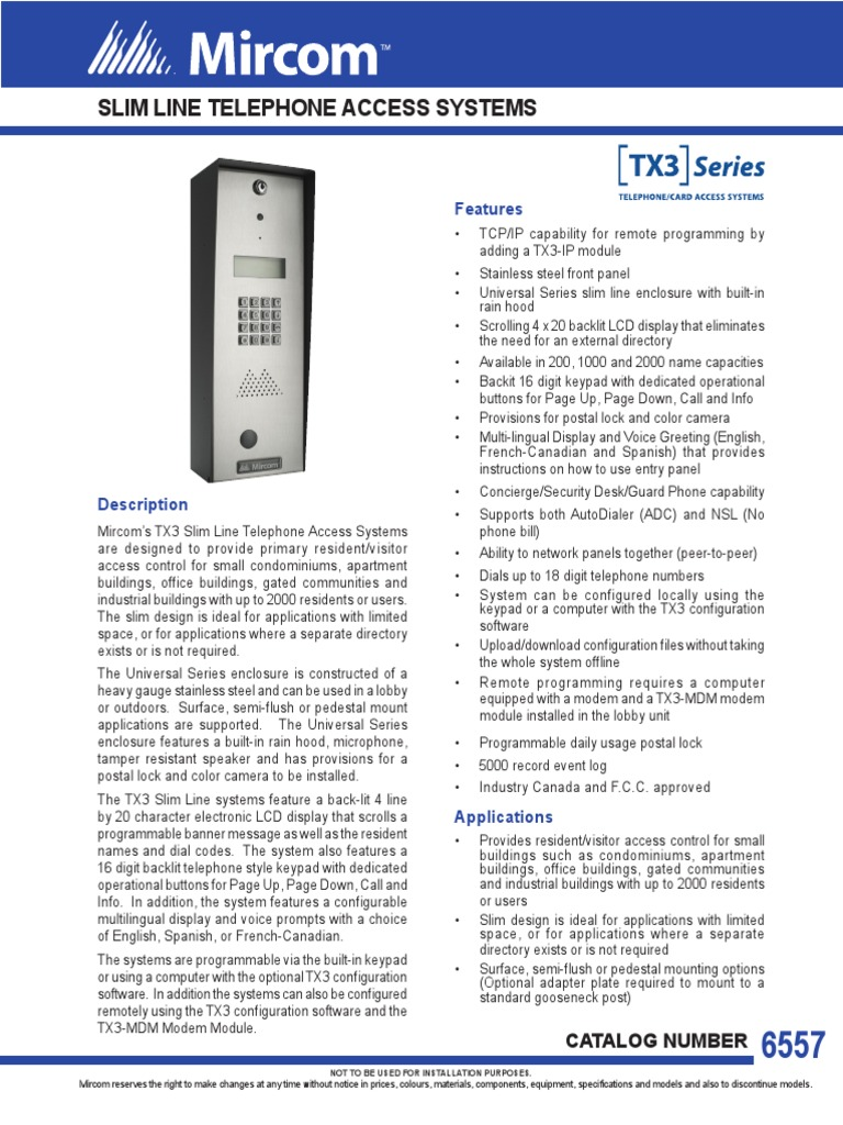 CAT-6557_TX3-4U_IP_Slim_Line_Telephone_Access System pdf | Telephone