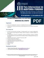 Memorias III Foro Internacional de Auditoria Forense 2013