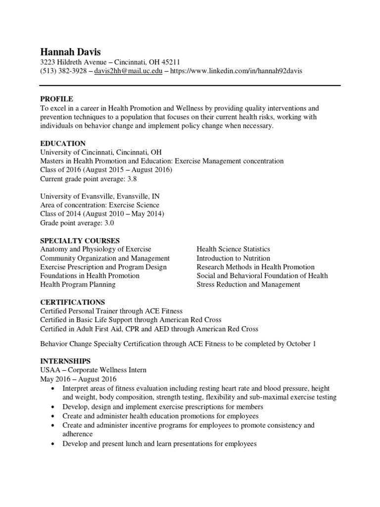 Resume Davis Hannah Physical Fitness Physical Exercise