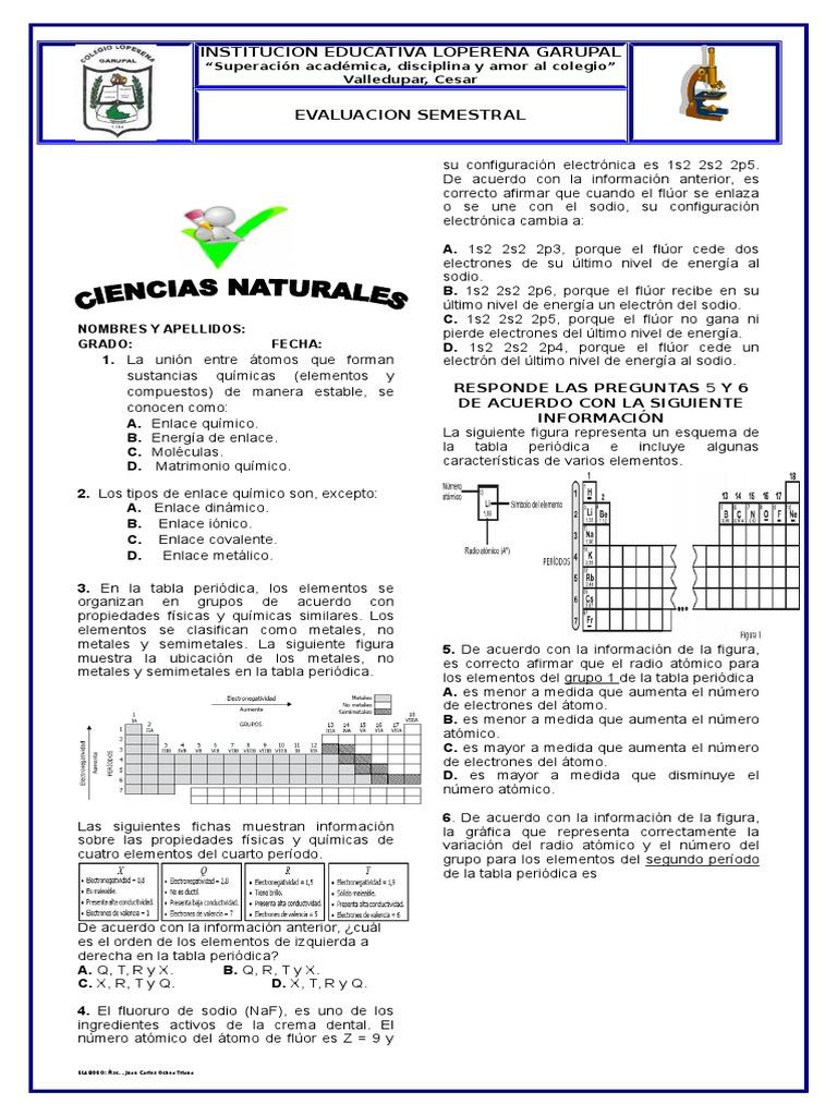evaluacion de qumica - Tabla Periodica Sodio Grupo