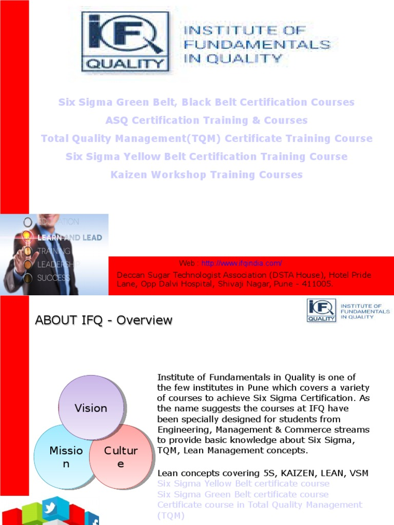 Six Sigma Green Belt Black Belt Yellow Belt Certification Course