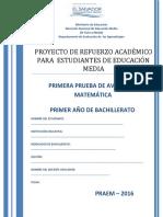 Primera Prueba de Avance de Matemática -Primer Año de Bachillerato- 2016