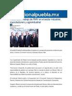 20-07-2016 Regional Puebla - Reconocen Trabajo de RMV en El Sector Industrial, Manufacturero y Agroindustrial