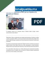 20-07-2016 Regional Puebla - Canacintra Reconoce a RMV Por Su Impulso a La Industria en México