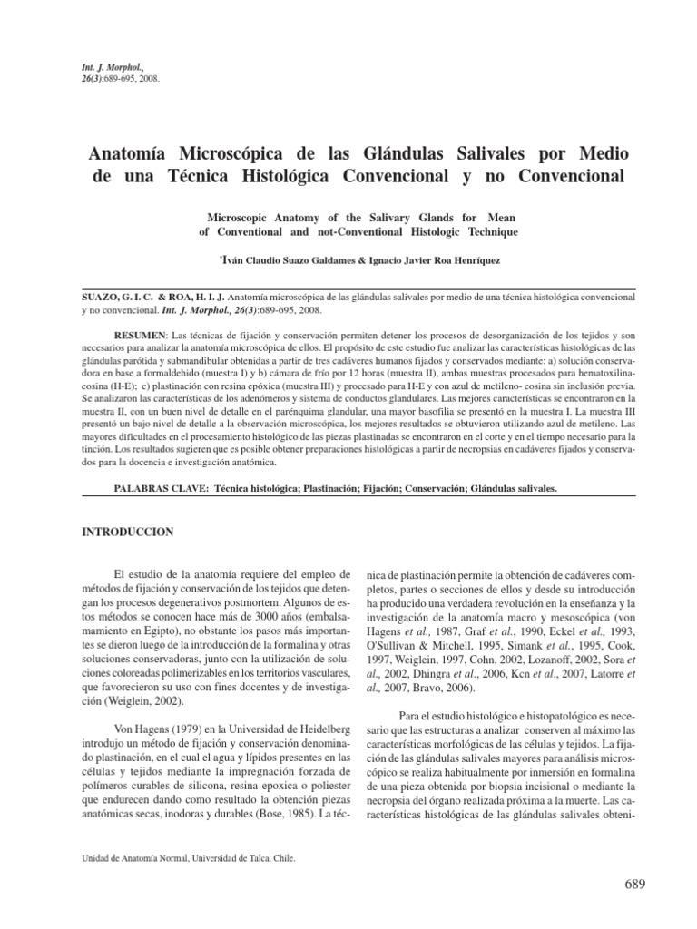 Anatomia Microscopica de Glandulas Salivales Por Medio de Tecnica ...