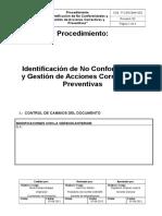 Procedimiento de Identificacion de No Conformidades y Gestion de Accion Correctiva y Preventiva